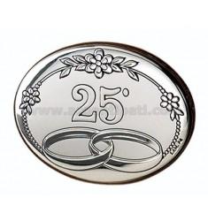 PANNELLO 25° ANNIVERSARIO CM 7X5 R/LEGNO ARG.