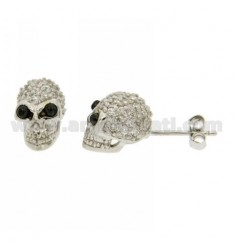 EARRINGS SKULL LOBE WITH PAVE 'OF ZIRCONIA AND EYES IN ONYX IN AG RHODIUM TIT 925 ‰