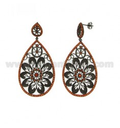 DROP EARRINGS WITH ORANGE IN DETAIL IN ZIRCONIA AG PLATED RUTENIO TIT 925 ‰