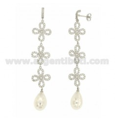 EARRINGS FLOWERS WITH PAVE &39AND DROP OF PEARL SILVER TIT 925