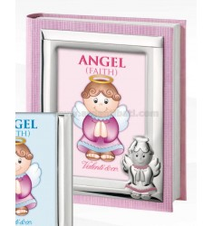 ALBUM BIMBO ANGEL FAITH ROSA C/CORNICE CM 20X25 LAM. AG