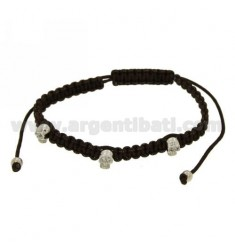 BRACELET WITH BROWN SILK CERATA 3 skulls microfused IN AG TIT 925 ‰ RHODIUM WITH EYES OF ZIRCONIA