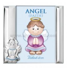 CORNICE BIMBO ANGEL FAITH ROSA CM 10X15 R/LEGNO LAM. AG