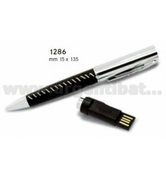 PENNA BALL NERA IN PELLE C/CHIAVETTA USB 4GB