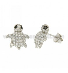 LOBO WITH A TURTLE EARRINGS PAVE &39OF ZIRCONIA WHITE AND BLACKS IN RHODIUM AG TIT 925
