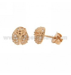 LOBBY LADYBIRD EARRINGS WITH ZIRCONIA PAVE IN AG ROSE GOLD PLATED TIT 925 ‰