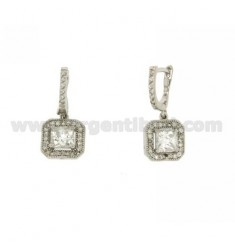 EARRINGS ZIRCONIA SQUARE IN AG TIT RODIATO 925 ‰
