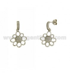 PENDANT DAISY EARRINGS WITH PAVE 'OF ZIRCONIA IN AG RHODIUM-PLATED TIT 9252 ‰