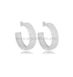 HOOP EARRINGS DIAMETER 25 MM WITH 5 ROWS OF ZIRCONIA 8 MM SILVER RHODIUM-PLATED TIT 925 ‰