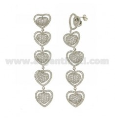 PENDANT EARRINGS 5 HEARTS IN PAVE 'OF ZIRCONIA IN AG RHODIUM TIT 925 ‰