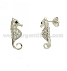 IPPOCAMPO LOBE EARRINGS WITH PAVE 'OF ZIRCONIA IN AG RHODIUM TIT 925 ‰