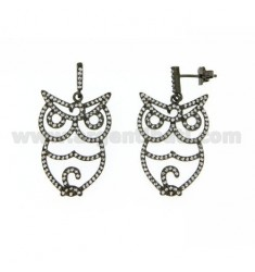 PENDANT EARRINGS OWL WITH PAVE 'OF ZIRCONIA IN AG PLATED Ruthenium TIT 925 ‰