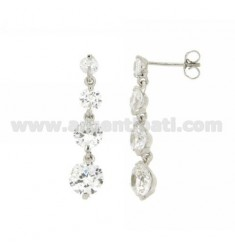 TENNIS DEGRADE ZIRCONIA EARRINGS TO 4 IN RHODIUM AG TIT 925