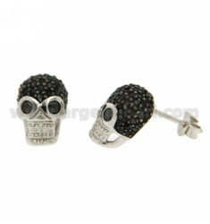 LOBE SKULL EARRINGS WITH BLACK ZIRCONIA PAVE IN AG RHODIUM TIT 925 ‰