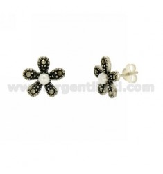 MARCASITE EARRINGS FLOWER AND PEARL SILVER TIT 925