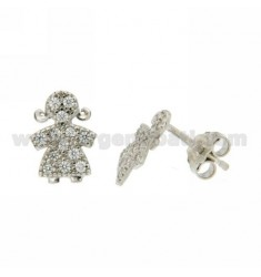 LOBE GIRL EARRINGS WITH ZIRCONIA PAVE IN AG RHODIUM TIT 925 ‰