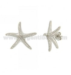 STARFISH LOBE EARRINGS WITH ZIRCONIA PAVE IN AG RHODIUM TIT 925 ‰