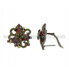 FANTASY FLOWER EARRINGS WITH CUBIC ZIRCONIA IN VARIOUS COLORS AG PLATED RUTENIO TIT 925