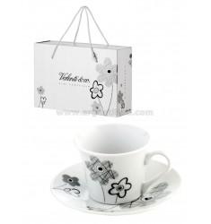 SET 2 PEZZI TAZZINE CAFFE' MARGHERITE CON BAG CM 18X12X7