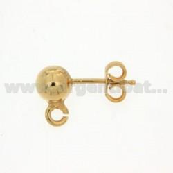 Ein Ball Ohrstecker mit 4 mm und ATTACK Trikot Silber vergoldet 925