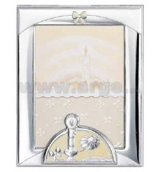 Frame BAPTISM WITH CANDLE AND GLITTER CM 13X18 R / WOOD BIL.