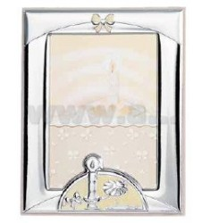 Frame BAPTISM WITH CANDLE AND GLITTER CM 9X13 R / WOOD BIL.
