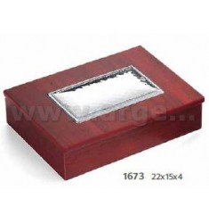 JEWELLERY BOX IN WOOD PLATE C / BOARD CM 22X15X4 ARG.