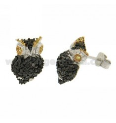 OWL EARRINGS WITH PAVE &39ZIRCONS OF BLACKS IN RHODIUM AG TIT 925 ‰