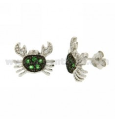 LOBE CRAB EARRINGS WITH GREEN ZIRCON PAVES IN AG RHODIUM PLATED AND RUTHENIUM TIT 925