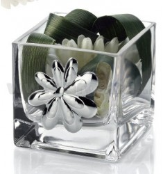 JAR GLASS CUBE DAISY WITH DECORATION 8X8 CM CM 8 H LAM AG