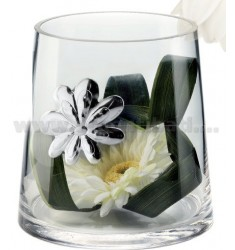CYLINDER GLASS DAISY WITH DECORATION CM 10X12, 5 LAM AG
