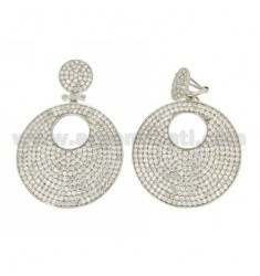 PENDANT EARRINGS DOUBLE DISC 35 AND 12 MM WITH ZIRCONIA PAVE IN AG RHODIUM TIT 925 ‰