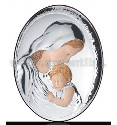 HOLY VIRGIN MARY WITH BABY OVAL COLOURED R / CM 9X13 WOOD LAM.