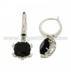 BEAD EARRINGS WITH 12 MM SQUARE PENDANT WITH CUBIC ZIRCONIA BLACKS AND WHITES IN RHODIUM AG TIT 925 ‰