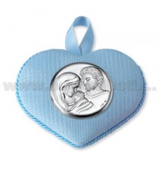 BED HEART LOCKET HOLY FAMILY CELESTE C / CARILLON 10X8 CM LAM AG.