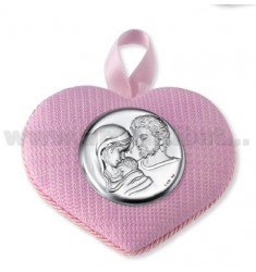 CRADLE PINK HEART LOCKET HOLY FAMILY C / CARILLON 10X8 CM LAM AG.
