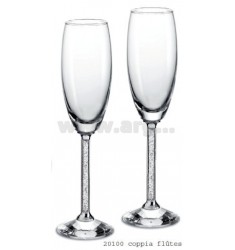 2 FLUTES PAIR OF CRYSTAL LIGHT H 23 CM