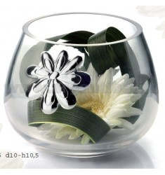 JAR CRYSTAL BALL DECORATION WITH DAISY 10X10.5 CM LAM.