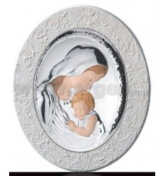 HOLY VIRGIN MARY WITH BABY OVAL COLOURED WOOD PANEL WITH WHITE SPATOLATO CM 36X43, 5 LAM.