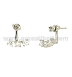 EARRINGS MULTI POINT LIGHT WITH ZIRCONIA 4 MM IN AG TIT RODIATO 925 ‰
