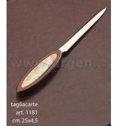 TAGLIACARTE IN LEGNO CM 25X4,5 C/DECORO ATLANTE ARG.