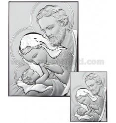 ICON THE HOLY FAMILY SATIN 16X21 CM ARG.