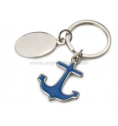 KEY RING ANCHOR BLUE WITH PLATE