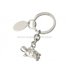 TURTLE KEY RING WITH RHINESTONES AND SILVER PLATE