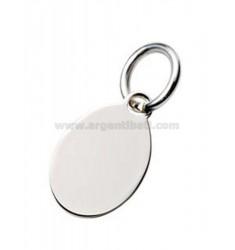 PLACA OVAL de 1,5x2,5 cm de metal de plata