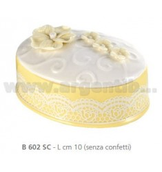 OVAL PORCELAIN BOX WITH 10 CM VIOLE AND RIBBON