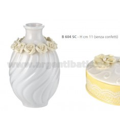 PORCELAIN JAR 11 CM WITH ROSES AND RIBBON
