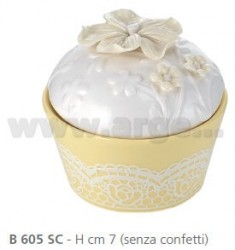 ROUND BOX WITH PORCELAIN CM 7 VIOLE AND RIBBON