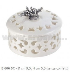 PERFORATED LARGE PORCELAIN BOX CM 9.5 X5, 5 DECORATION WITH SEA AND RIBBON