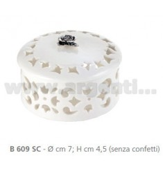 PERFORATED SMALL BOX PORCELAIN CM 7X4, 5 DECORATION WITH PINK RIBBON
